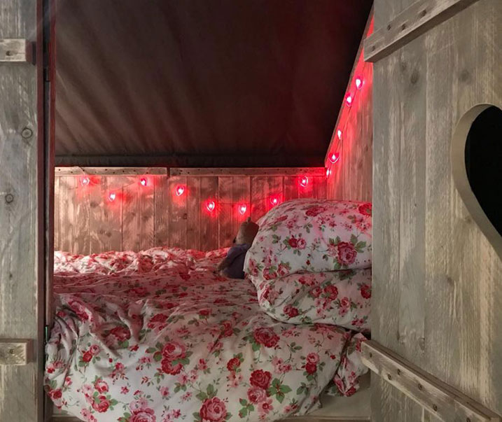 safari tent cabin bed