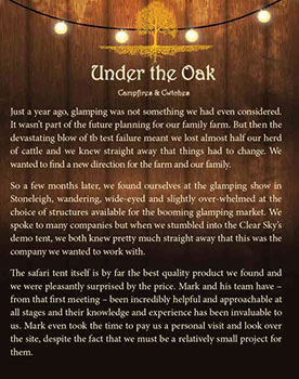 under the oak glamping