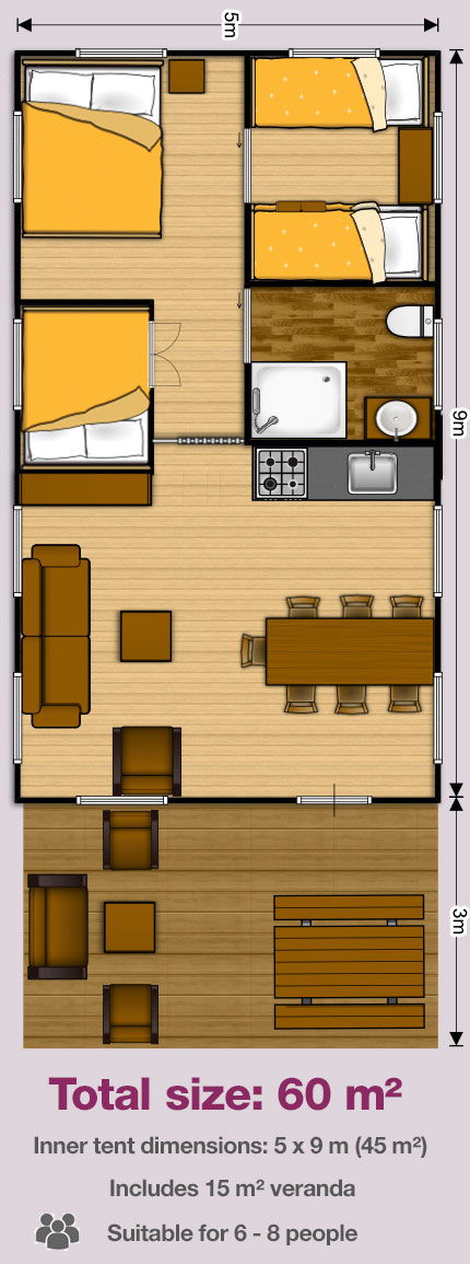 Woody Safari Tent 5x9 floor plans